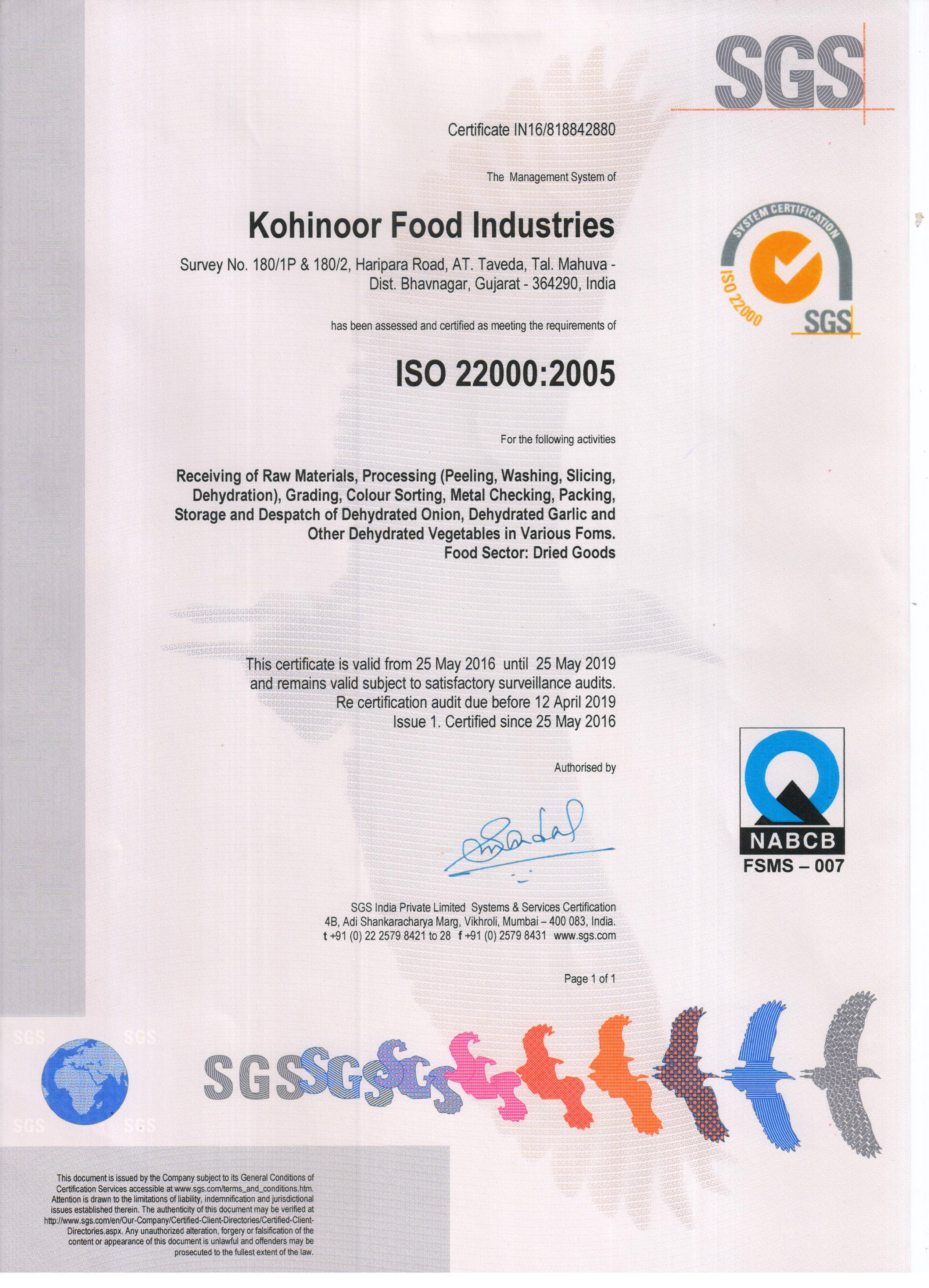 Certification kohinoor food industries certification xflitez Images